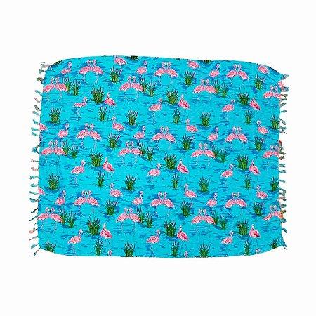 Canga de Praia 100% Viscose - Flamingo 1,60mx1,10m