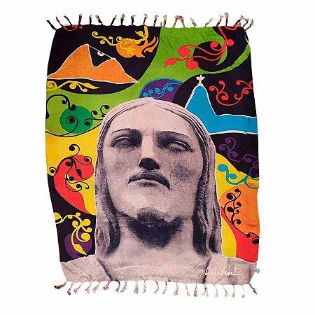 Canga de Praia 100% Viscose - Cristo Redentor 1,60mx1,10m