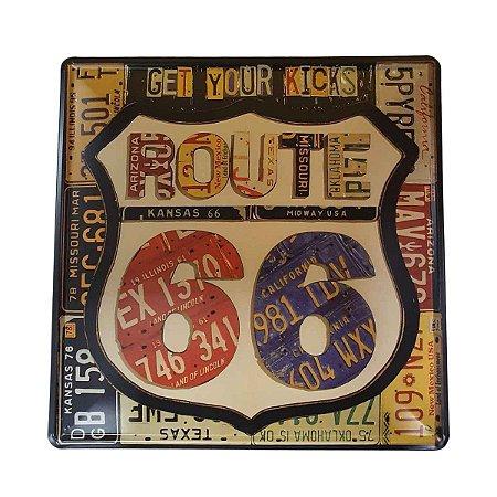 Placa Decorativa de Metal  Rota 66 Preta 30cmx30cm