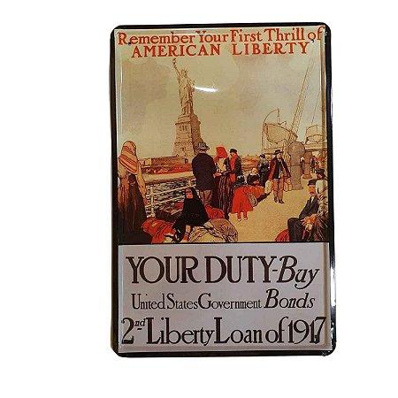 Placa Decorativa de Metal Estátua da Liberdade 20cmx30cm
