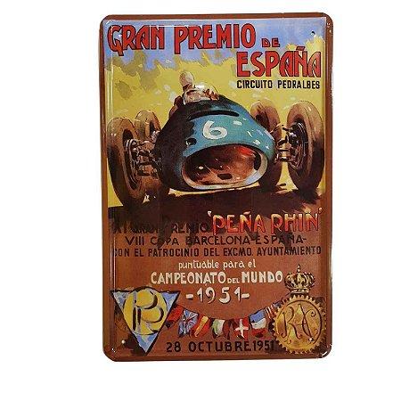 Placa Decorativa de Metal Grand Premio 20cmx30cm