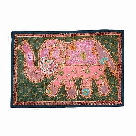 Panô Indiano Bordado Elefante Rosa e Verde 100% Algodão