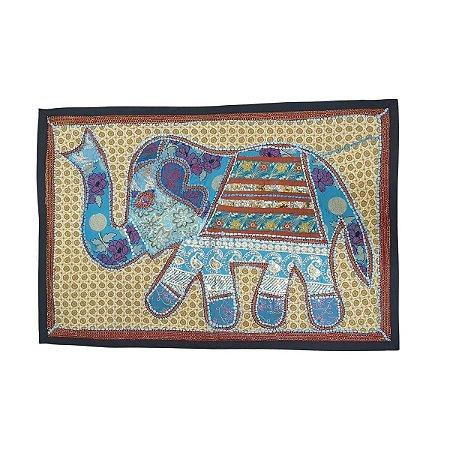 Panô Indiano Bordado Elefante Turquesa 100% Algodão
