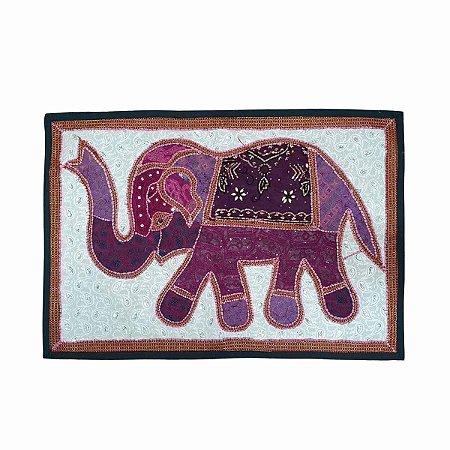 Panô Indiano Bordado Elefante Roxo e Branco 100% Algodão