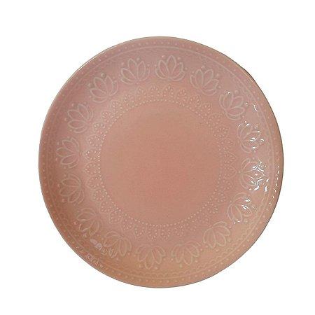 Conjunto Prato de Sobremesa de Cerâmica Rosa 20cm - 6 peças