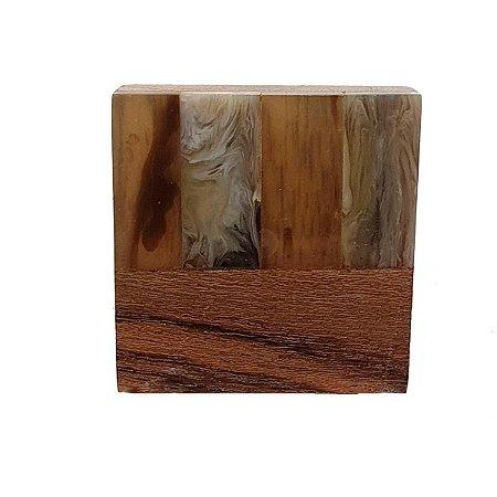 Puxador de Madeira Quadrado Marrom 4cm