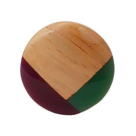 Puxador de Madeira Redondo Roxo e Verde 4cm