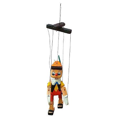 Escultura Marionete de Madeira Pinóquio 32cm