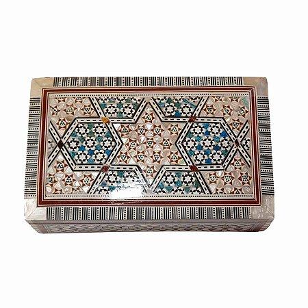 Caixa Decorativa de Madeira Egípcia 20,5cm