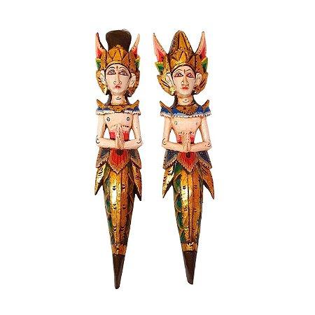 Escultura Rama e Sita Madeira Balsa Trad. Clara Verde 50cm
