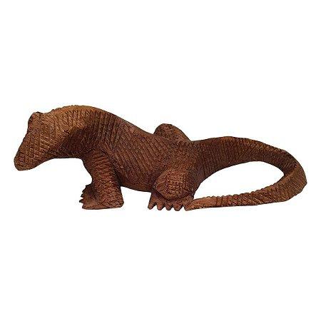 Dragão de Komodo de Madeira Suar 30cm