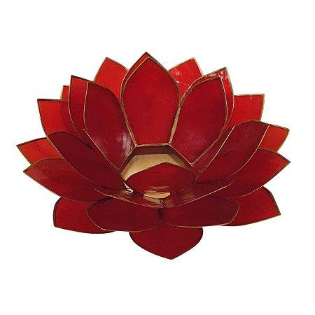 Porta Vela Flor de Lótus de Madrepérola Vermelha M