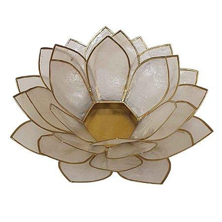 Porta Vela Flor de Lótus de Madrepérola Perolada G