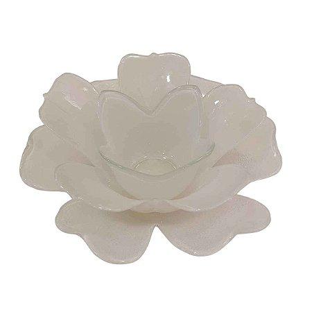 Castiçal Flor de Lótus de Vidro Branca 16cm