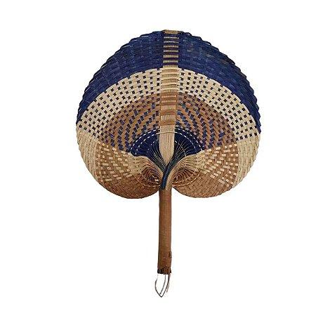 Leque Abano de Palha Cru c/Marrom e Azul 28cm