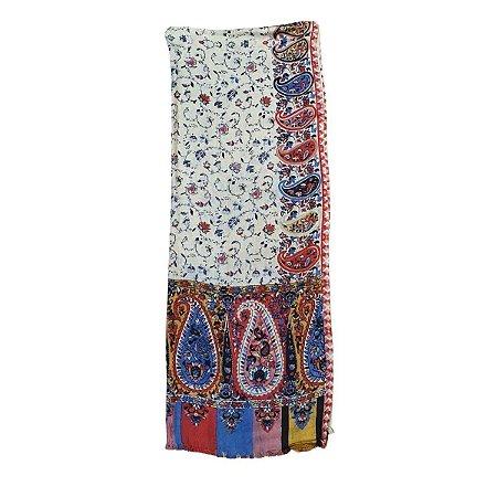 Lenço Indiano 100% Viscose 70cmx180cm (Nude Floral)
