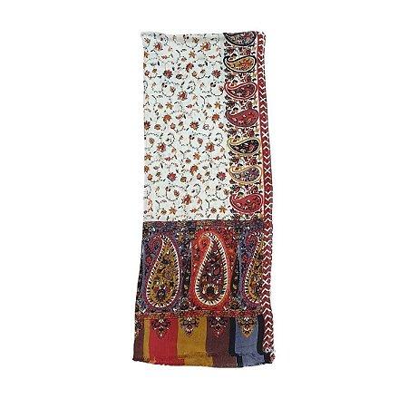 Lenço Indiano 100% Viscose 70cmx180cm (Vermelho Terra Floral)