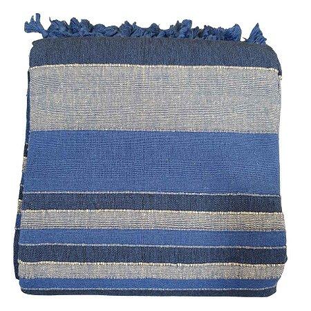 Colcha Indiana Kerala 100% Algodão Azul Caneta 2,30mx2,10m