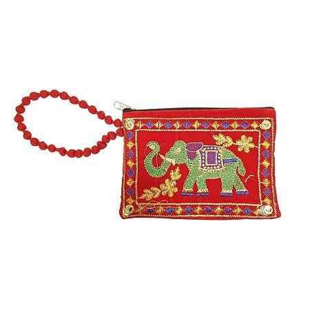 Bolsa de Mão de Tecido com Veludo Bordada Vermelha Pequena