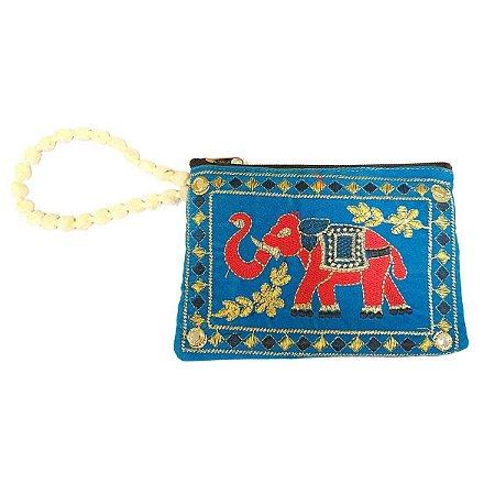 Bolsa de Mão de Tecido com Veludo Bordada Azul Bebê Pequena