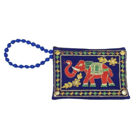 Bolsa de Mão de Tecido com Veludo Bordada Azul Caneta Pequena
