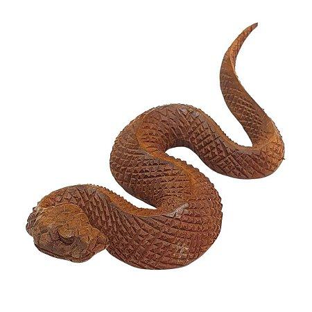 Escultura de Cobra de Madeira 20cm