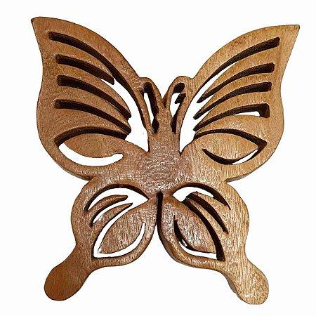 Borboleta Decorativa de Madeira Suar 17,5cm