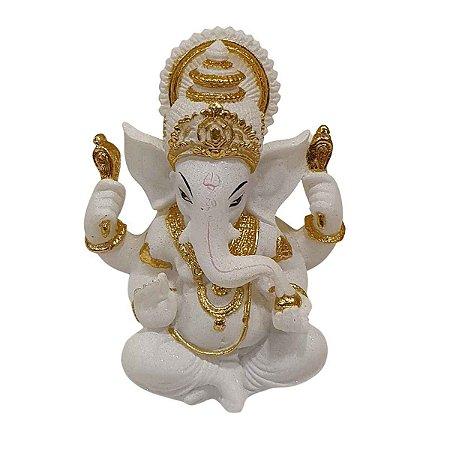 Escultura de Ganesha de Resina Branco e Dourado 13cm