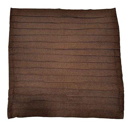 Capa de Almofada de Algodão Lisa Drapeada Marrom 45cmx45cm