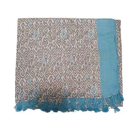 Lenço Indiano 100% Algodão Cinza e Azul 1mx1,80m