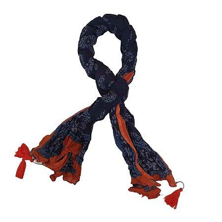 Lenço Indiano 100% Algodão Enrolado Azul Marinho 100cmx180cm