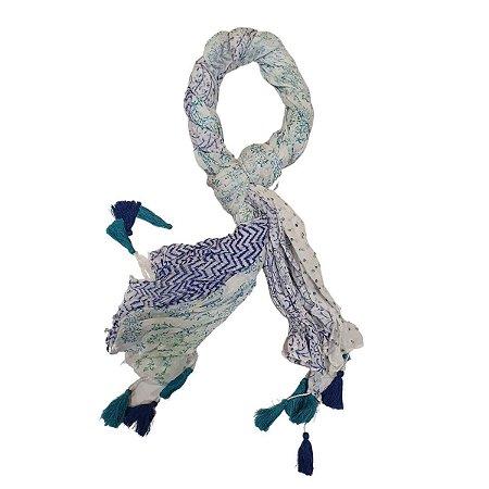 Lenço Indiano 100% Algodão Enrolado Azul Turquesa 100cmx180cm