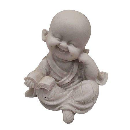 Mini Monge Músico do Livro de Pó de Mármore Branco (Mod. 2)