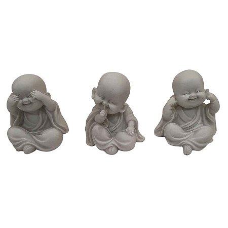 Trio Mini Monges Sábios de Pó de Mármore Branco 7cm