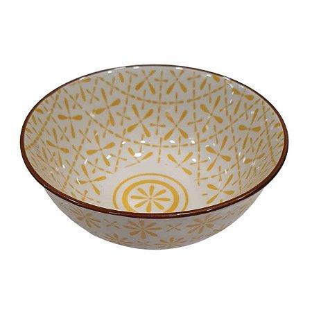 Bowl de Cerâmica Branco e Amarelo (Modelo 1) 11cm