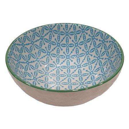 Bowl de Cerâmica Branco e Azul (Modelo 2) 11cm