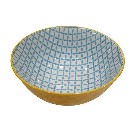 Bowl de Cerâmica Azul e Amarelo (Modelo 6) 11cm