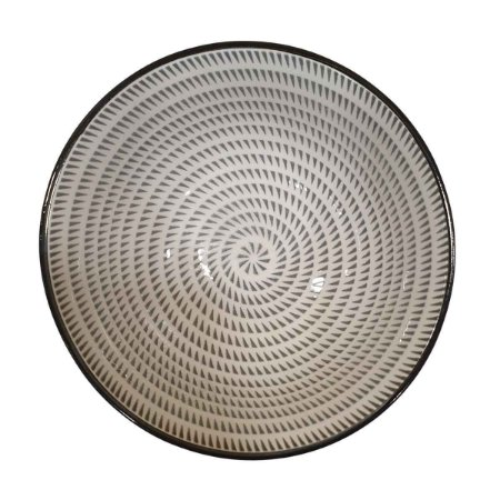 Bowl de Cerâmica Branco e Cinza (Modelo 2) 15,5cm