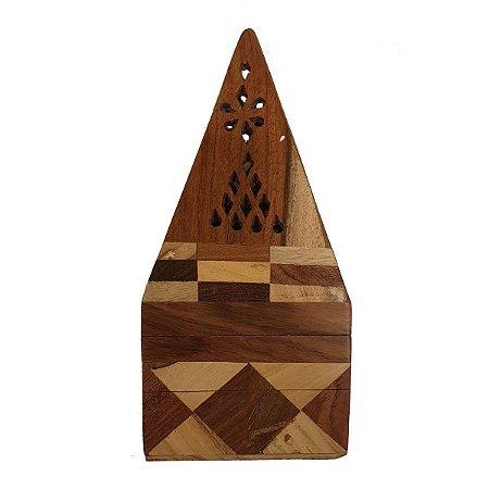 Incensário Cone Pirâmide de Madeira Mesclado 10cm