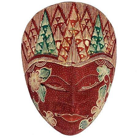 Máscara Batik Madeira Balsa Vermelha 18cm