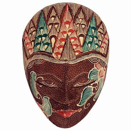 Máscara Batik Madeira Balsa Marrom 18cm