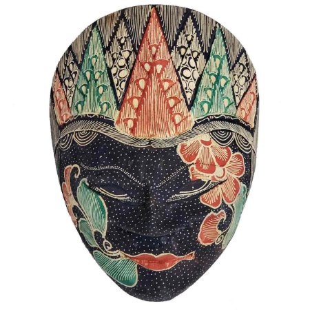 Máscara Batik Madeira Balsa Azul marinho 18cm