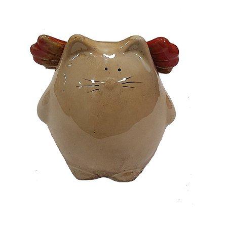 Cofre Gato com Asas de Cerâmica Bege 11cm