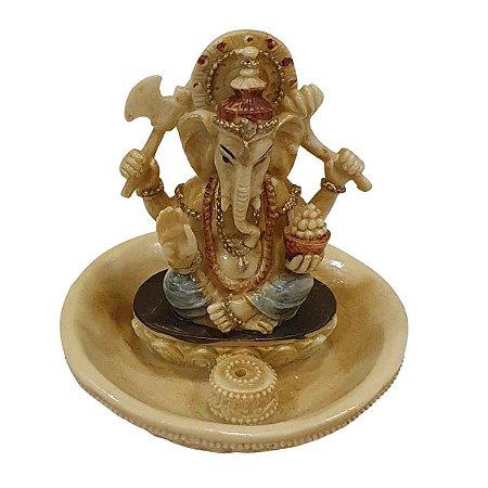 Incensário de Ganesha Sentado de Resina 10cm