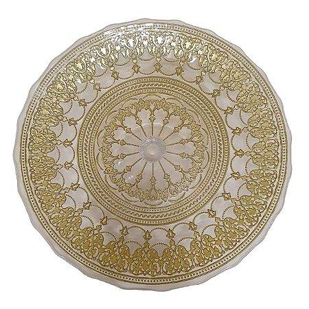 Prato Suspenso p/Doces de Vidro Transparente com Dourado 33cm