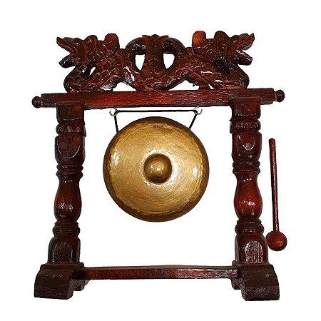 Gongo Decorativo de Madeira e Alumínio 30cm