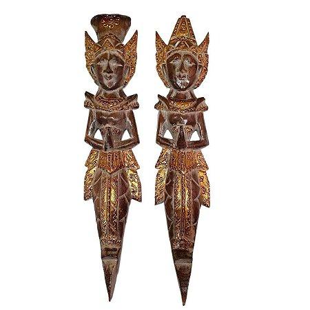 Escultura Rama e Sita de Madeira Balsa Marrom 50cm