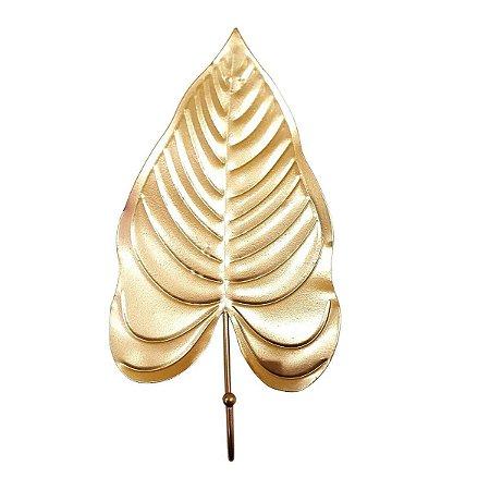 Gancho Unitário de Metal Planta Dourado 27cm