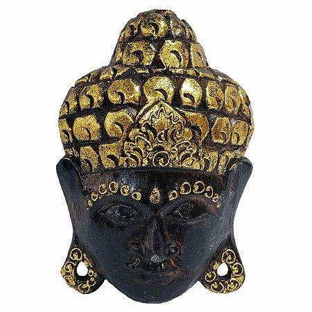 Máscara Cabeça de Buda Madeira Balsa Marrom com Dourado 20cm