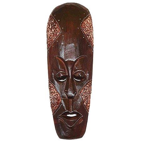 Máscara Entalhada com Pintura Tribal Madeira Balsa Fina 30cm